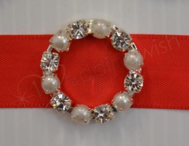 Wedding  Round Diamante and Pearl Buckle Large x 10 Image 1