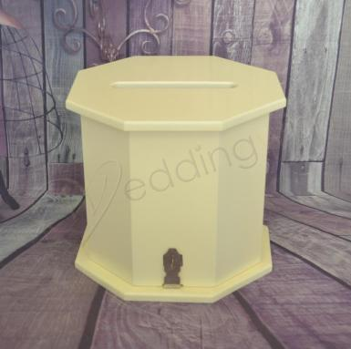 Wedding Octagon Ivory Timber Wishing Well Card Box - Wedding Wish Image 1