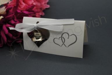 Wedding Double Heart Bell Placecard Holders x 10 - Wedding Wish Image 1