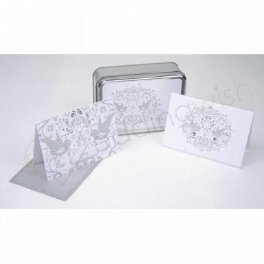 Wedding Silver Embossed Love Birds Notecards in Tin Box - Wedding Wish Image 1