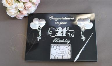 Wedding 21st Birthday Guest and Memories Book Black and Silver - Wedding Wish Image 1