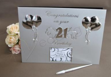 Wedding 21st Birthday Silver Guest and Memories Book - Wedding Wish Image 1