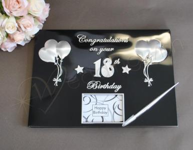 Wedding 18th Birthday Guest and Memories Book - Black and Silver - Wedding Wish Image 1