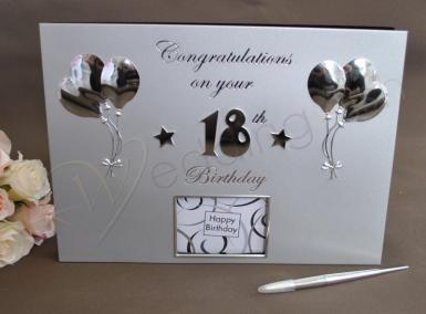 Wedding 18th Birthday Silver Guest and Memories Book - Wedding Wish Image 1