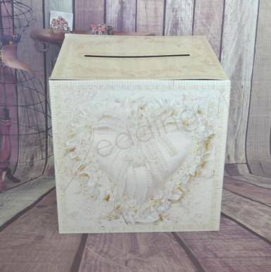 Wedding  Vintage Lace Design Cardboard Wishing Well Card Box Image 1