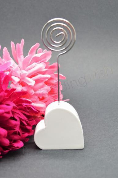 Wedding  Resin Heart Placecard Holder - White or Silver Image 1