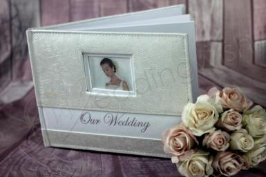 Wedding Embossed Rose Leather Look Guest Book -  Ivory - Wedding Wish Image 1