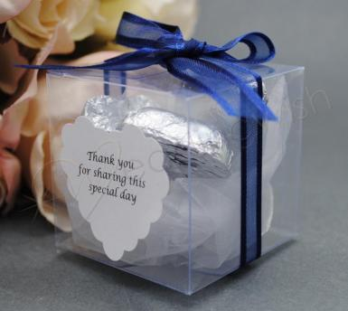 Wedding 5cm Clear Favour Gift Boxes x 10 - Wedding Wish Image 1
