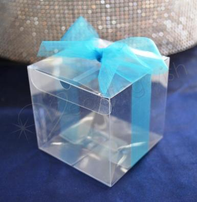 Wedding 7.5cm Clear Favour Gift Boxes x 10 - Wedding Wish Image 1