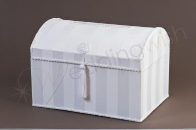 Wedding  Treasure Chest White Satin Card Keeper Box Image 1