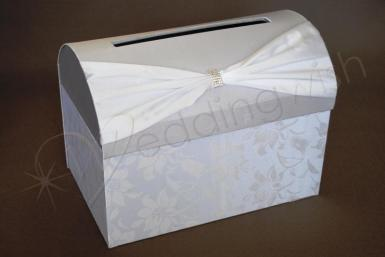 Wedding  Clearance - Silver and White Satin Treasure Chest with Floral Detail Image 1