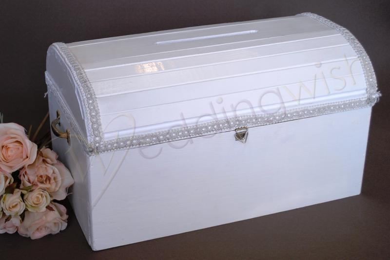 Wedding Wooden Wedding Treasure Chest with Braid Trim Hire – Wedding Treasure Chest Card Box