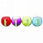 Tealight Candle Holders Coloured Glass Bowls image
