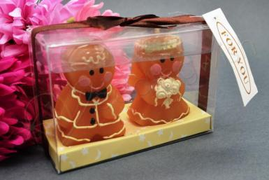 Wedding Bride and Groom Gingerbread Candles - Wedding Wish Image 1