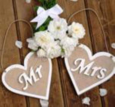 Wedding Rustic Burlap Mr and Mrs Heart Banner - Wedding Wish Image 1
