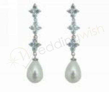 Wedding Cubic Zirconia and Glass Pearl Earrings - Wedding Wish Image 1