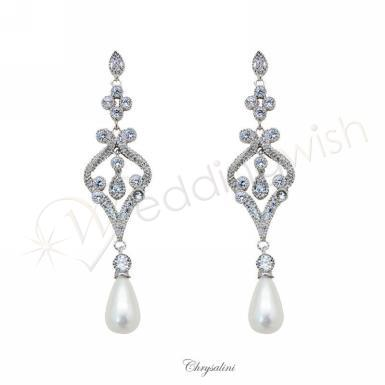 Wedding Vintage Inspired Pearl and Cubic Zirconia Earrings - Wedding Wish Image 1