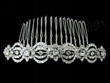 Wedding Diamante and Silver Flowers hair comb - Wedding Wish Image 1