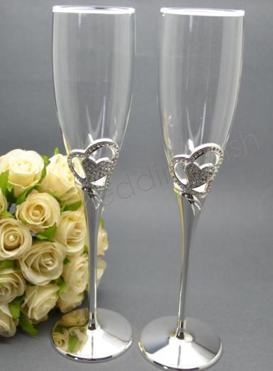 Wedding  Diamante Solid Heart Toasting Glasses Image 1