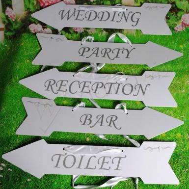 Wedding Arrow Directional Signs Two Sided - Wedding Wish Image 1