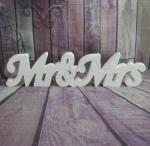 Mr and Mrs Freestanding White Wooden Sign image
