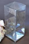 Clear PVC Box with Silver Base 6cm x 6cm x 12cm image