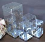 Clear PVC Box with Silver Base 8cm x 8cm x 13cm image