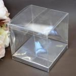 Clear PVC Box with Silver Base 8cm x 8cm x 6cm image