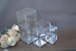Clear PVC Box with Silver Base 10cm x 10cm x 24cm image