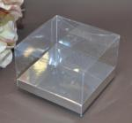 Clear PVC Box with Silver Base 10cm x 10cm x 5cm image