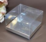 Clear PVC Box with Silver Base 12cm x 12cm x 8cm image