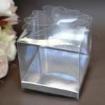 Clear PVC Box with Silver Base 7.5cm Flower Lid image