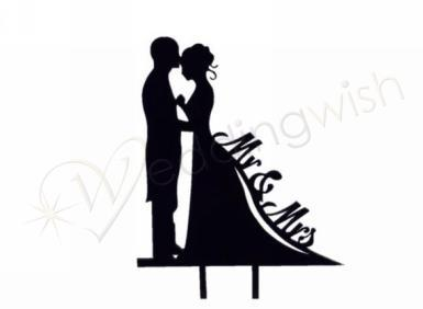 Wedding Mr and Mrs Silhouette Black Cake Pick - Wedding Wish Image 1