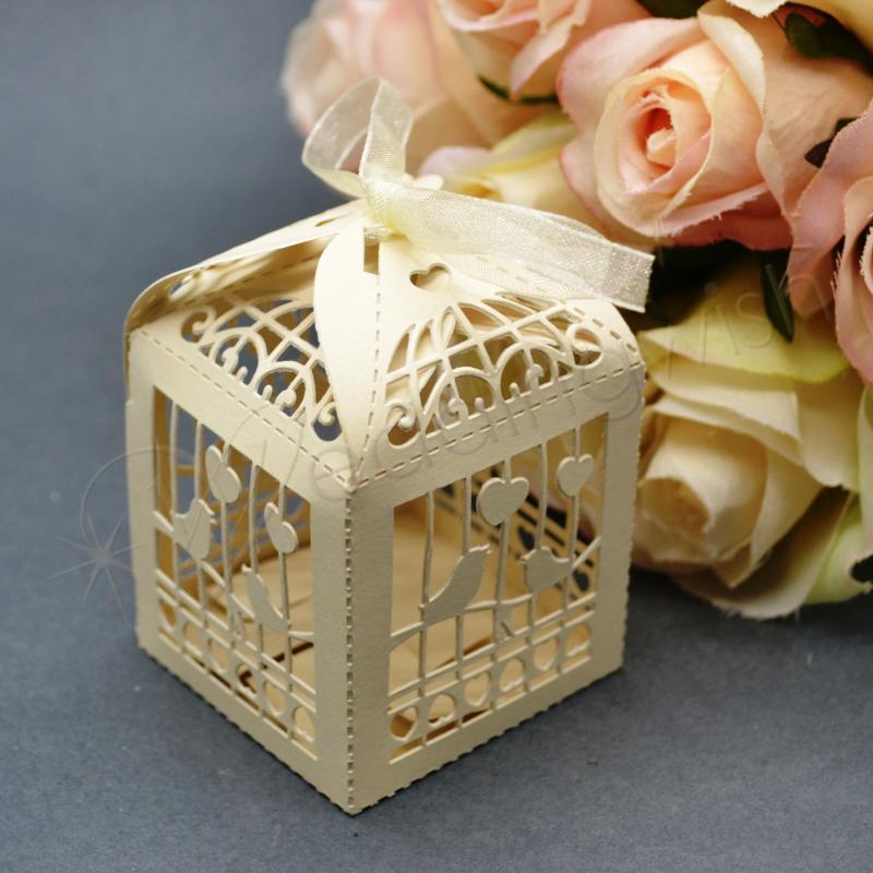 Wedding Gift Boxes Melbourne : 100 Wedding Bridal Bomboniere FavourCream Birdcage Box, Laser Cut ...