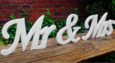 Wedding Mr and Mrs Extra Large White Wooden Sign - HIRE - Wedding Wish Image 1