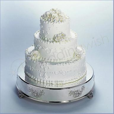 Wedding Antique Look 18 inch Round Silver Cake Stand - Hire - Wedding Wish Image 1