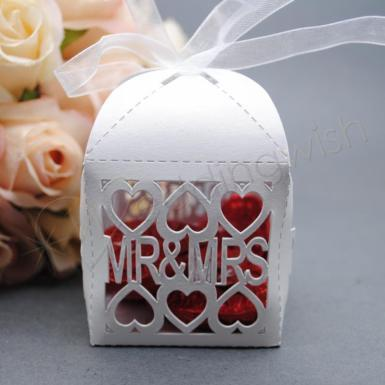 Wedding Mr and Mrs Laser Cut Favour Boxes White x 20 - Wedding Wish Image 1