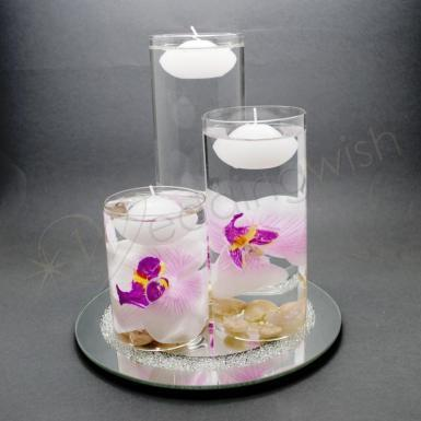 Wedding Glass Three Floating Candle Table Decoration 8 piece Set - Wedding Wish Image 1