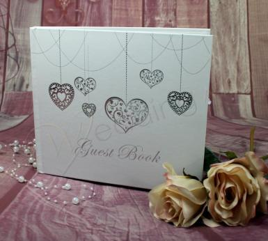Wedding Silver Heart Guest Book - Wedding or Engagement - Wedding Wish Image 1