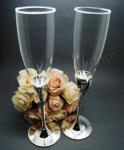 Bride and Groom Dress and Tux Champagne Flutes image