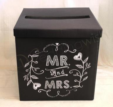 Wedding  Mr and Mrs Wishing Well Black Card Box Image 1