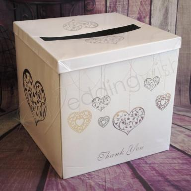 Wedding Silver Hearts Wishing Well Card Box - Wedding Wish Image 1