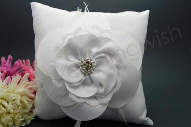 Wedding  Satin Flower Ring Pillow with Feathers and Diamantes Image 1